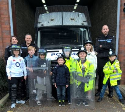 Children pictured during their Police Station visit