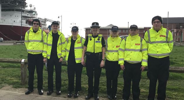 Blyth officers and Police Cadets during the crime prevention initiative